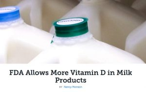 picture of milk bottles with title FDA allows more vitamin D in milk products
